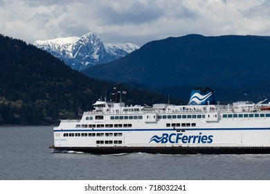 VANCOUVER, BC - September 18: A BC ferry crossing Howe Sound to Sunshine Coast on nice and sunny day. BC ferries is becoming a costly way to get around with no alternative on September 18, 2017