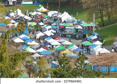 VANCOUVER, BC/Canada - April 20, 2018: An overhead view of the 4-20 event where tents and shelters are used to sell marijuana paraphernalia in an open, free market in Vancouver, Canada on April 20, 20