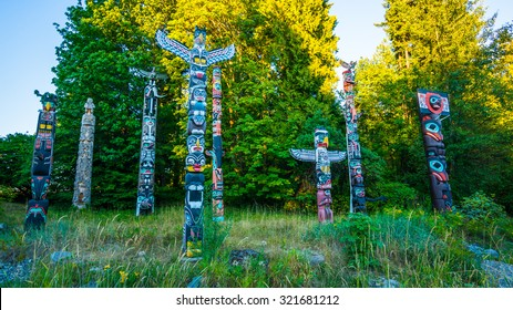 VANCOUVER, BC/CANADA - JULY 30: The Totem Poles at Brockton Point in Stanley Park  in Vancouver, Canada on July 30, 2015. Totem poles are one of the most visited tourist attractions.