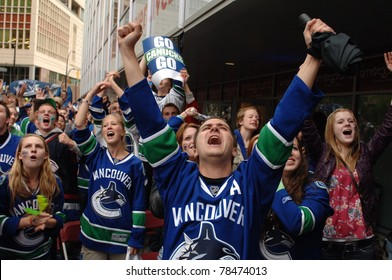 VANCOUVER, BC,CANADA - JUNE 1: Vancouver Canucks fans react to the Stanley Cup 2011 Finals Game 1 win over Boston Bruins on June 1, 2011 in Vancouver, Canada