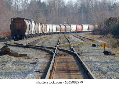 VANCOUVER, BC/Canada - March 10, 2018: A small Canadian National rail yard comprised of four tracks where grain and petroleum cars are parked on March 10, 2018.