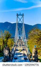 Vancouver. BC/Canada-April 24, 2019: Busy Rush Hour traffic crossing the Lions Gate Bridge, or First Narrows Bridge, between Vancouver's Stanley Park and the municipalities of North and West Vancouver