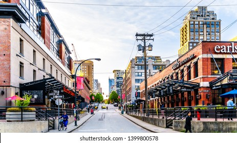 Vancouver. BC/Canada-April 24, 2019: Yaletown, a historic industrial area of Vancouver, where warehouses and factories have been converted to retail stores and condominiums