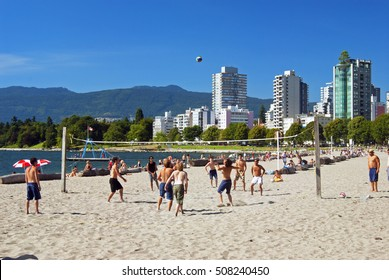 VANCOUVER BEACHES - JULY 7, 2006: The most popular Vancouver beach is English Bay Beach, located near downtown, some 50 metres  from West End's Denman Street. British Columbia, Canada