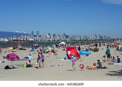 VANCOUVER BEACHES - MAY 22, 2017: Popular Vancouver beaches - Kitsilano, Jericho, Locarno, Wreck beach, Spanish Banks, West Vancouver and at Tsawwassen. Hundted of kilometres of popular sandy beaches.