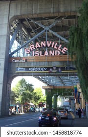 Vancouver, British Columbia, Canada - 05th May 2018: Granville Island Portal. This island is located under the south end of Granville Street Bridge. It is famous for its public market and docks.