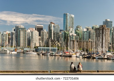Vancouver, British Columbia, Canada - 12 September 2017: Stanley Park and Vancouver Skyline.
