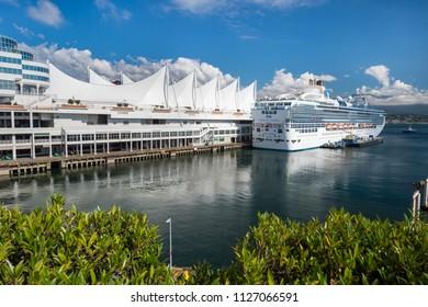 Vancouver, British Columbia, Canada - 13 September 2017: MS Island Princess cruise ship docked at the Vancouver Canada Place Cruise Ship Terminal