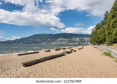 Vancouver, British Columbia, Canada - 13 September 2017: Vancouver third beach in Stanley Park