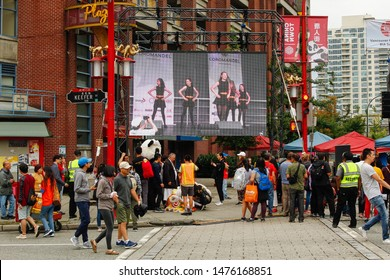 Vancouver, British Columbia / Canada - August 10, 2019: Crowds of people in Vancouver Chinatown