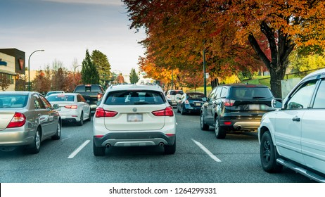 Vancouver, British Columbia - Canada. Cars in line, bumper to bumper, stuck in traffic on a busy road.