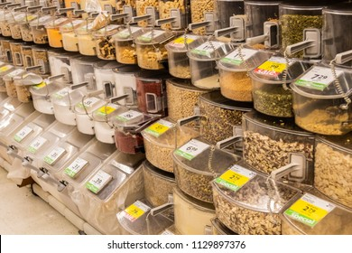 Vancouver, British Columbia / Canada - July 8th 2018 - The Bulk Aisle in a Grocery Store