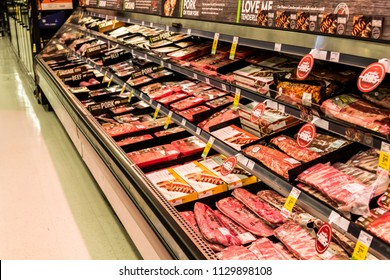 Vancouver, British Columbia / Canada - July 8th 2018 - The Meat Aisle in a Grocery Store