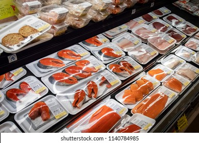 Vancouver, British Columbia / Canada - July 22nd 2018 - The Fish and Seafood Aisle in a Grocery Store