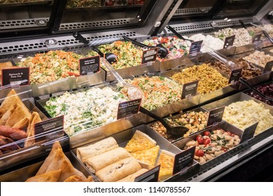 Vancouver, British Columbia / Canada - July 22nd 2018 - The Deli Display in a Grocery Store