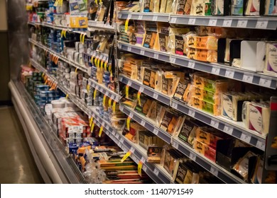 Vancouver, British Columbia / Canada - July 22nd 2018 - The Cheese Aisle in a Grocery Store