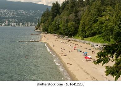 Vancouver, British Columbia, Canada - June 30, 2016:  Third Beach at Stanley Park on a summer afternoon.
