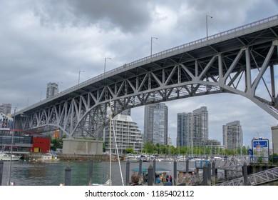 VANCOUVER, BRITISH COLUMBIA, CANADA, JUNE 21, 2016: Granville bridge at Granville Island on a cloudy day in Vancouver, British Columbia, Canada