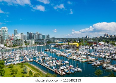 VANCOUVER, BRITISH COLUMBIA, CANADA, JUNE 21, 2016: Beautiful view of Vancouver Harbour, marina, and Granville island on a sunny day