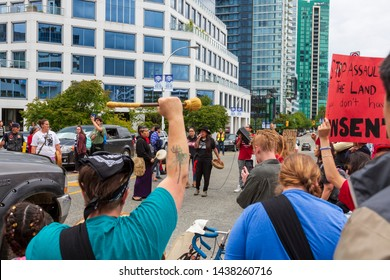 VANCOUVER, BRITISH COLUMBIA, CANADA - JUNE 23, 2019. Indigenous citizens protesting the expansion of the trans mountain pipeline owned by the Government of Canada, taken on June 23, 2019 in Vancouver.