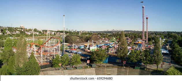 Vancouver, British Columbia, Canada - June 04, 2017- Aerial Panoramic View of Playland amusement park during a bright sunny day.