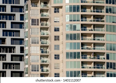 VANCOUVER, BRITISH COLUMBIA, CANADA - MARCH 16, 2018. Close up of modern high-density residential buildings in downtown Vancouver