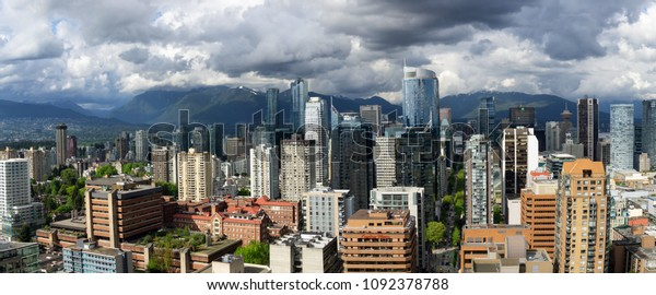 Vancouver, British Columbia, Canada - May 9, 2018: Aerial panoramic view of Downtown City Commercial Buildings.