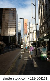 Vancouver, British Columbia / Canada - November 06, 2018: Downtown Vancouver along Granville Street.