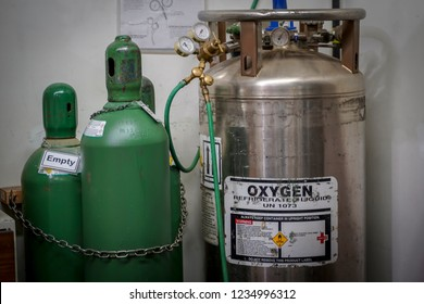 Vancouver, British Columbia / Canada - November 3rd 2018 : An Oxygen Tank with Cylinders around it