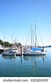 Vancouver, British Columbia / Canada - October 14 2017:  Coal Harbour Vancouver City British Columbia Canada