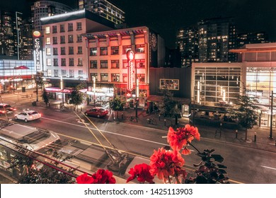 Vancouver, British Columbia / Canada - September 24th 2018: Friday night on Granville Street, Orpheum Theatre visible in the background, Vancouver, British Columbia, Canada, North America