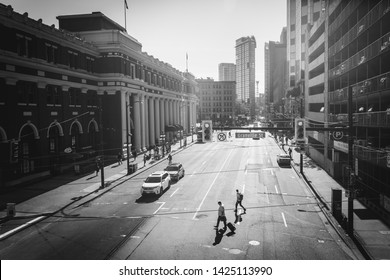 Vancouver, British Columbia / Canada - September 24th 2018: Waterfront Station and Granville Street,  Vancouver, British Columbia, Canada, North America