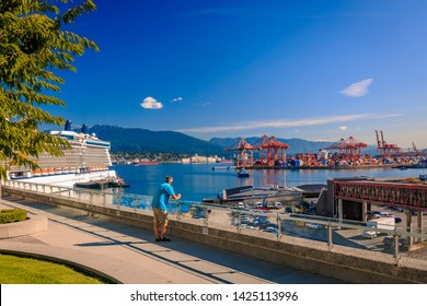 Vancouver, British Columbia / Canada - September 24th 2018: View of Canada Palace, North Vancouver and Harbour from Granville Plaza, Vancouver, British Columbia, Canada, North America