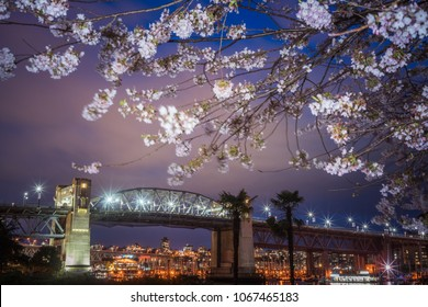 Vancouver British Columbia Canada,April 2018. Vancouver Burrard Bridge with Cherry blossoming backgrounds in night