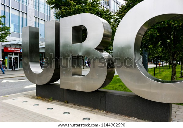 Vancouver British Columbia, June 20 2018: Editorial photo of the UBC sign that signifies that you are on the University of British Columbia campus. UBC is known for their amazing academics