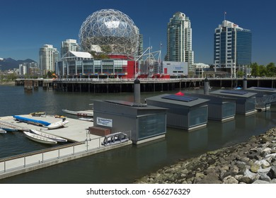 VANCOUVER, BRITISH COLUMBIA/CANADA - June 08, 2017: Science World is a science centre located at the end of False Creek, and features many permanent interactive exhibits and displays.