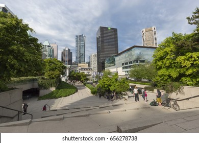 VANCOUVER, BRITISH COLUMBIA/CANADA - June 08, 2017: Robson Square is a public plaza located in Downtown Vancouver. Exclusive to Shutterstock.