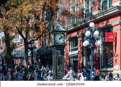 Vancouver, British Columbia/Canada - September 2018: Steam Clock in Gastown