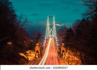 Vancouver British Columbia,Canada,February 2017.Lions gate bridge in the evening