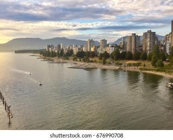Vancouver Burrard inlet. Vancouver skyline.  Vancouver beach