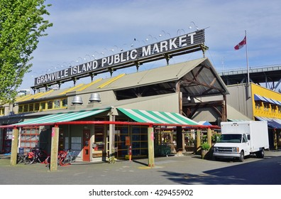VANCOUVER, CA -7 MAY 2016- The landmark Granville Island public market in Vancouver, Canada.