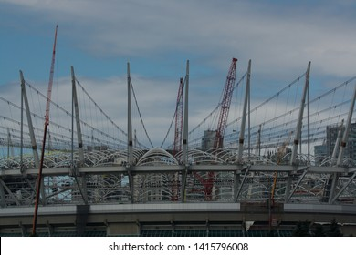 Vancouver, Canada - 06/23/2011 : Closeup of the construction of the roof of Rogers Arena ice hockey venue