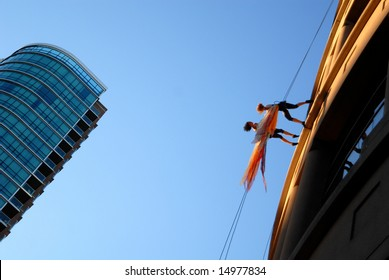"Vancouver, Canada, 12 July 2008: Member of dance troupe ""Aeriosa"" performs during ""Dancing On The Edge"" Festival"