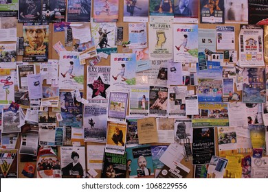 VANCOUVER, CANADA - APR 5 2018 :Bulletin board filled with advertising sheet at Granville Island Public Market.
