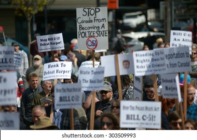 VANCOUVER, CANADA - APRIL 18, 2015: Protesters attend a Stop Bill C-51 rally to stand in solidarity against the government's proposed Anti-Terrorism legislation, Vancouver, Canada, Apr. 18, 2015.