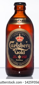 Vancouver / Canada - April 2008: Carlsberg Gold. Canadian stubby beer bottle from the 1970's.