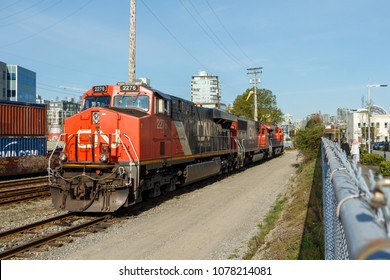 Vancouver, Canada - April 2018 : CN Rail Freight Engine