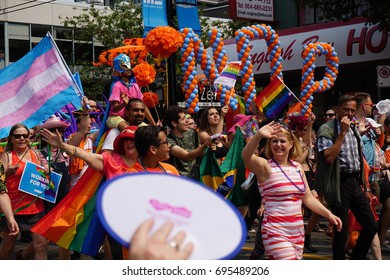VANCOUVER, CANADA - AUG 6, 2017: NDP Policital Party Candidates marching in Vancouver Pride Parade.