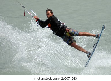VANCOUVER, CANADA - AUGUST 1, 2014: Athletes compete during Kite Clash Kiteboarding event in Squamish, BC, Canada, on August 1, 2014.
