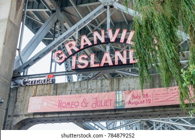 VANCOUVER, CANADA - AUGUST 10, 2017: Granville Market sign. The market is a famous tourist attraction.